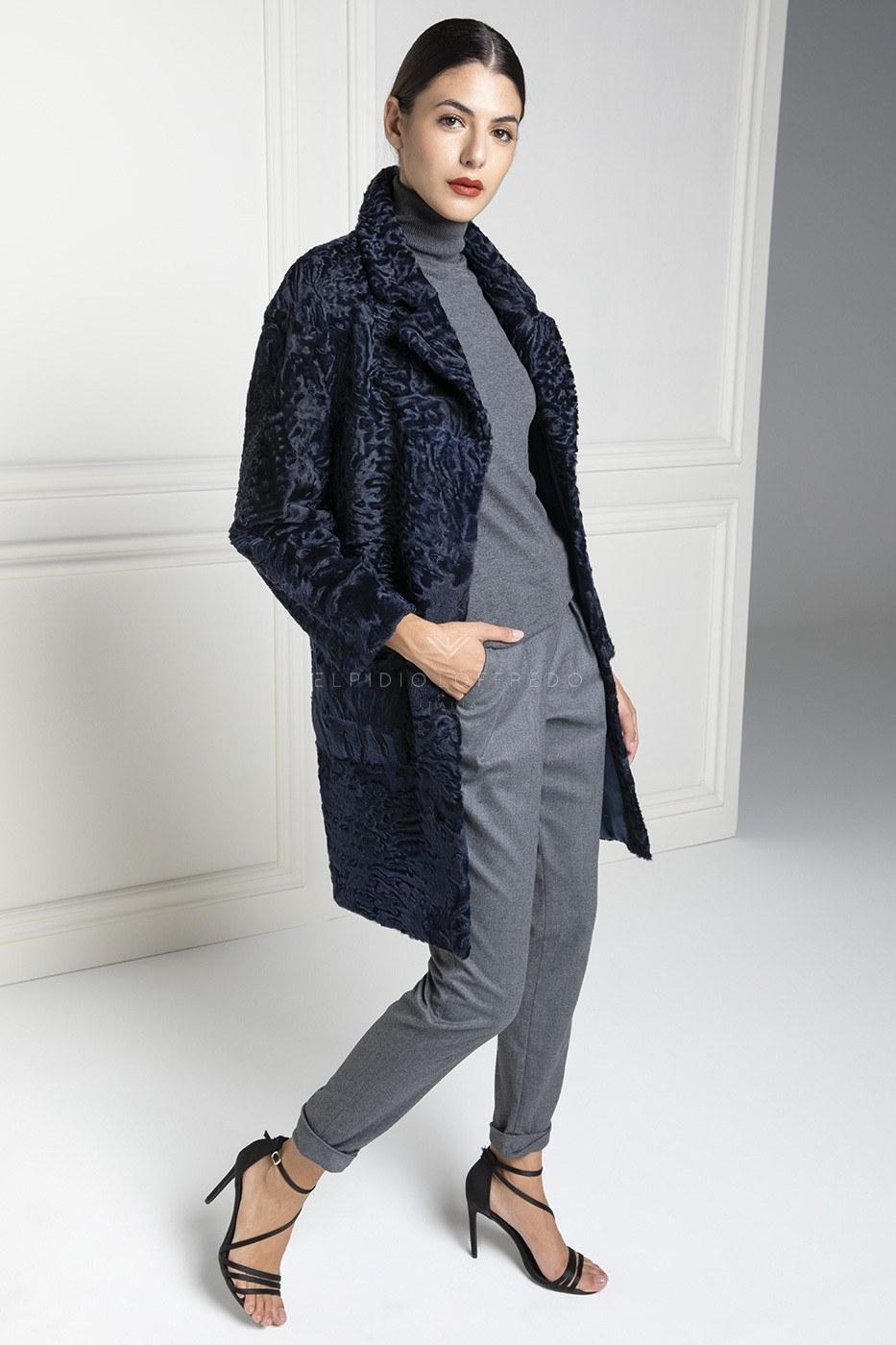 Cappotto di Pelliccia di Swakara con collo Rever - Lunghezza 90 cm