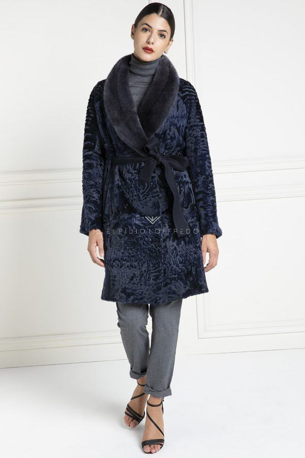 Blue Swakara Coat with Mink Fur - Length 90 cm