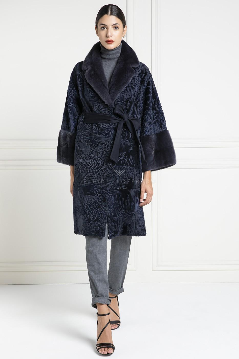 Swakara Coat with Mink Fur - Length 100 cm