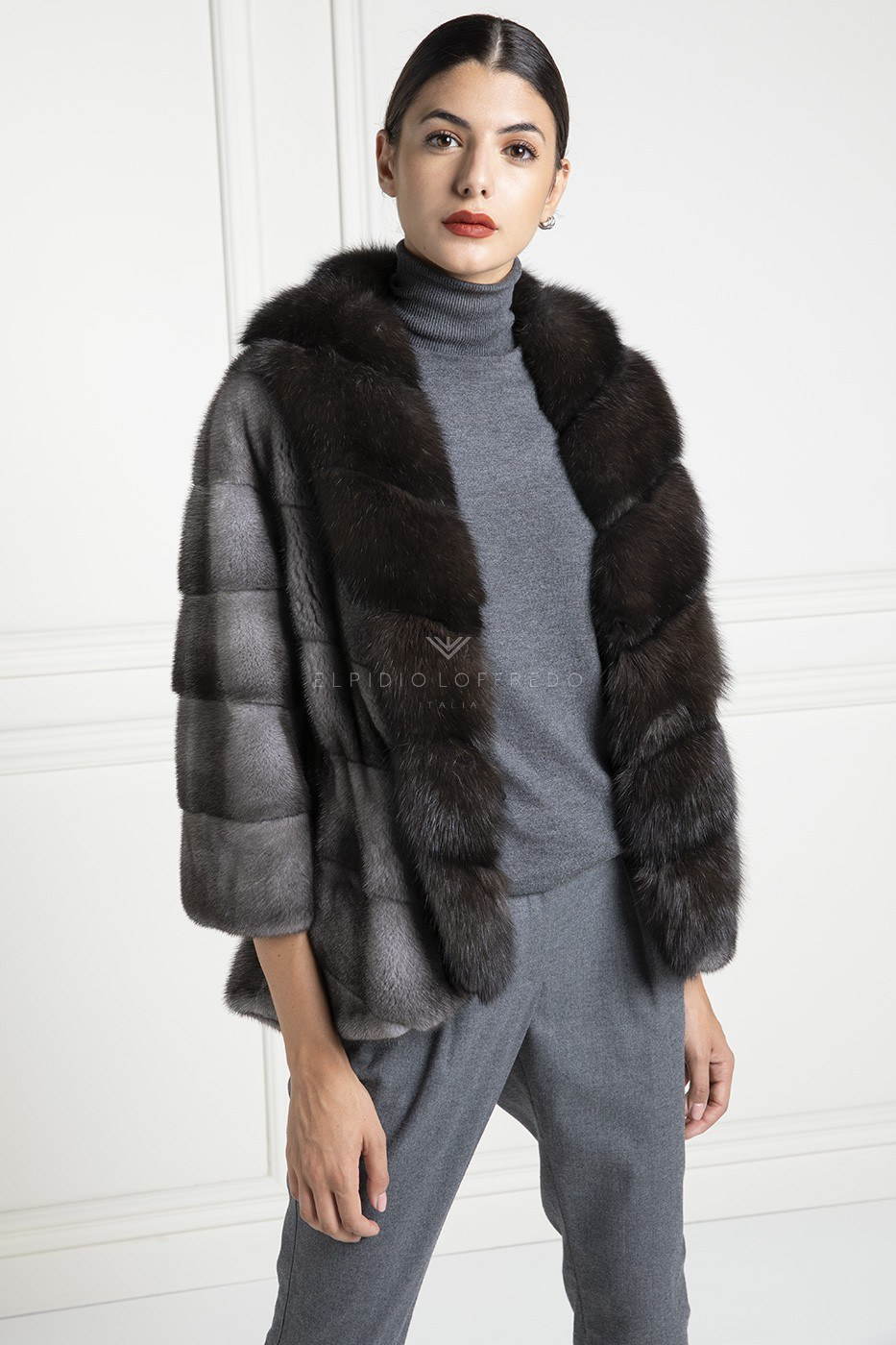 Blue Iris Mink with Barguzinsky Russian Sable and Shawl collar