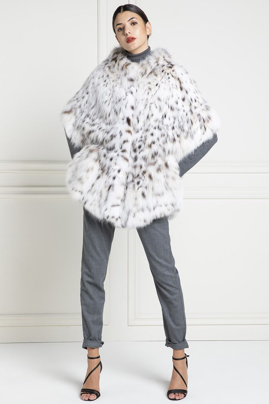 Full White Lynx Fur Jacket - Lynx Belly - Length 75 cm