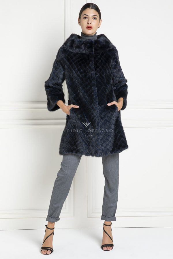 Blue Mink Coat with Round Collar - Length 85 cm