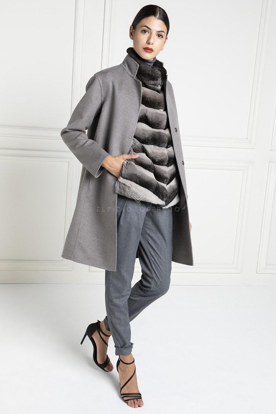 Пальто из Кашемира Loro Piana с Шиншиллой Toffee - Длина 90 см