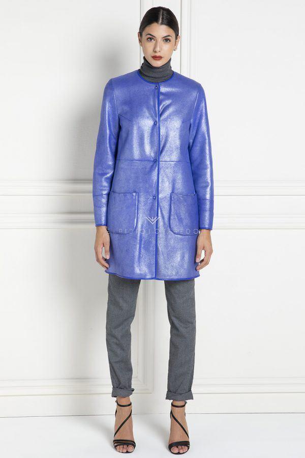 Cappotto di Montone Shearling con collo Piatto - Lunghezza 80 cm