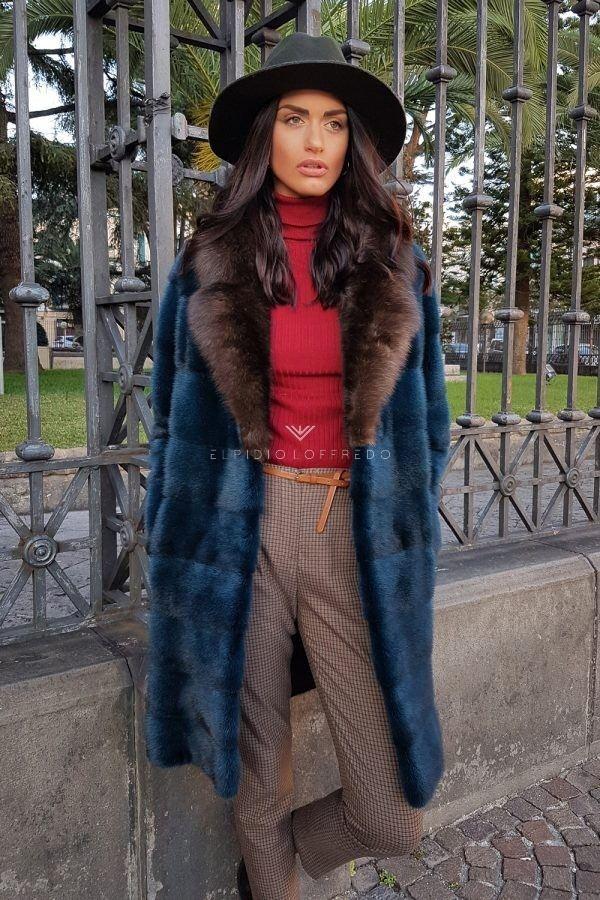 Cappotto di Visone con Zibellino Russo Barguzinsky e Collo Rever - Lunghezza 90 cm