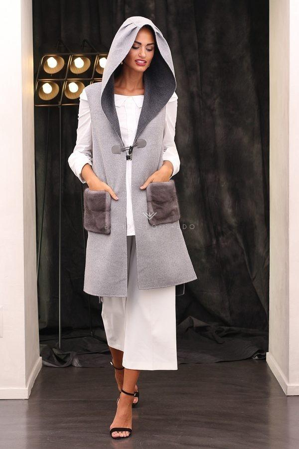 Cashmere and Wool Vest with Mink - Length 90 cm