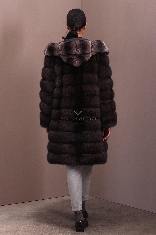 Cappotto di Zibellino Russo Barguzinsky con Cincillà - Lunghezza 100 cm