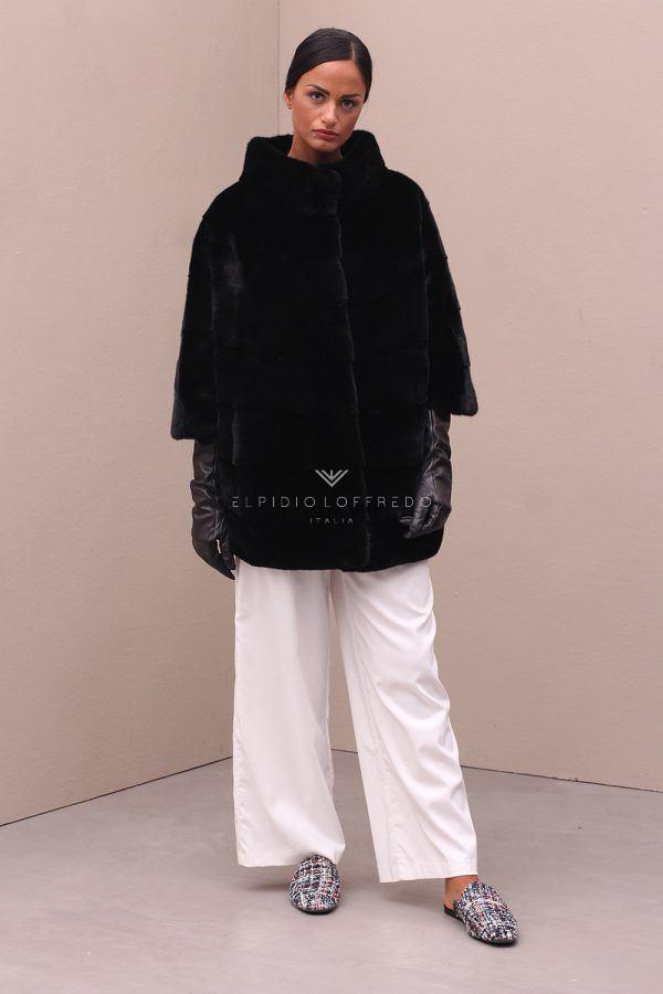 Blackglama Mink Jacket with Round Collar - Length 75 cm