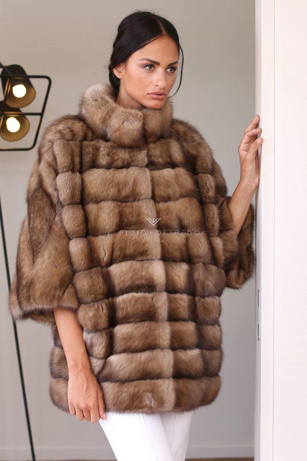 Giacca di Zibellino Russo - Titanio - Lunghezza 70 cm