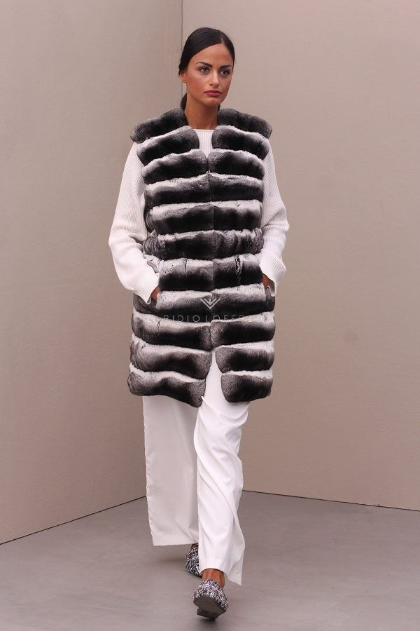 Chinchilla Fur Vest - Length 90 cm