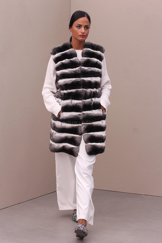 Chinchilla Fur Vest - Length 90 cm