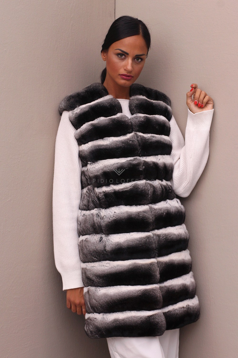 90 Vest Fur Cm Chinchilla Length OPkZiXu