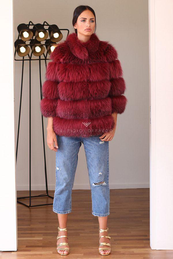 Red Fox Jacket with Round Collar - Length 65 cm
