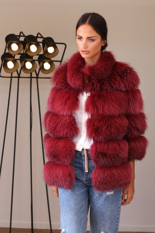 Giacca di Volpe Rossa con Collo Rotondo - Lunghezza 65 cm