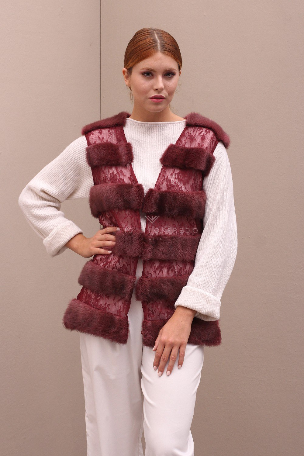 Red Mink Vest with Lace - Length 65 cm