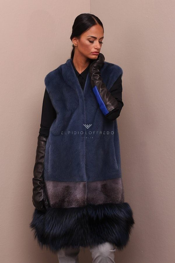 Mink Vest with Fox - Length 100 cm