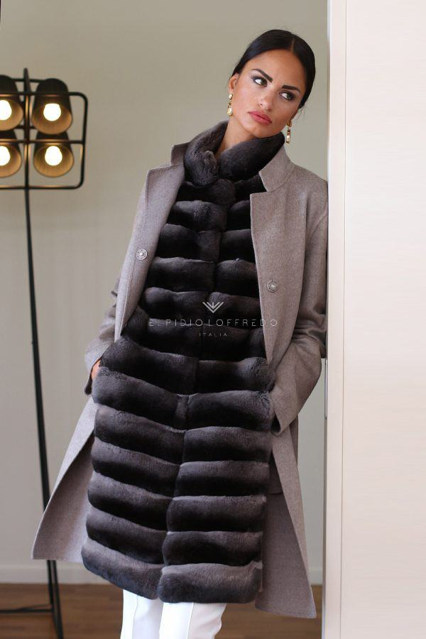 Cashmere Loro Piana with Toffee Chinchilla Fur - Length 90 cm