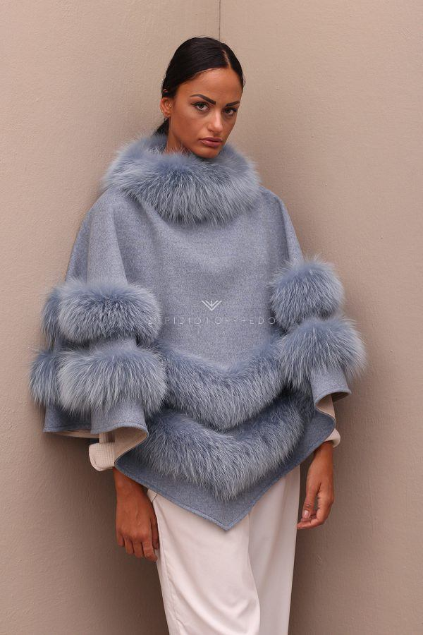 Cashmere Loro Piana Cape with Fox Fur - Length 70 cm
