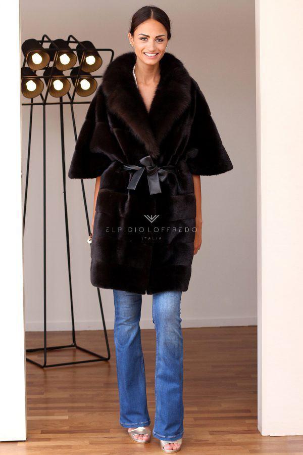 Cappotto di Visone con Zibellino - Lunghezza 90 cm