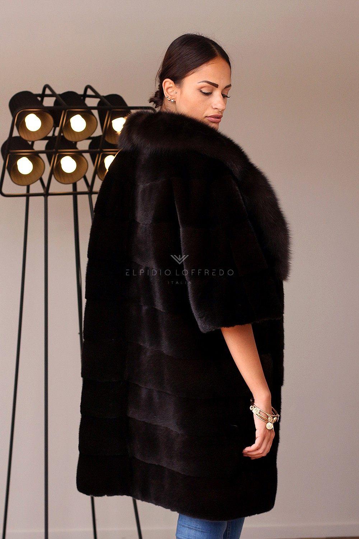 Mink Coat with Sable Fur - Length 90 cm