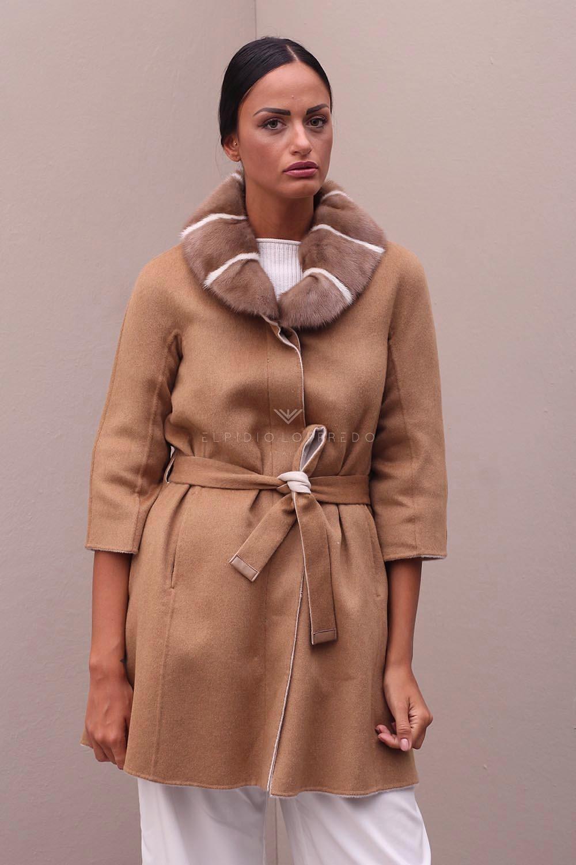 Пальто из Кашемира с Шерстью и Норкой - Длина 90 см