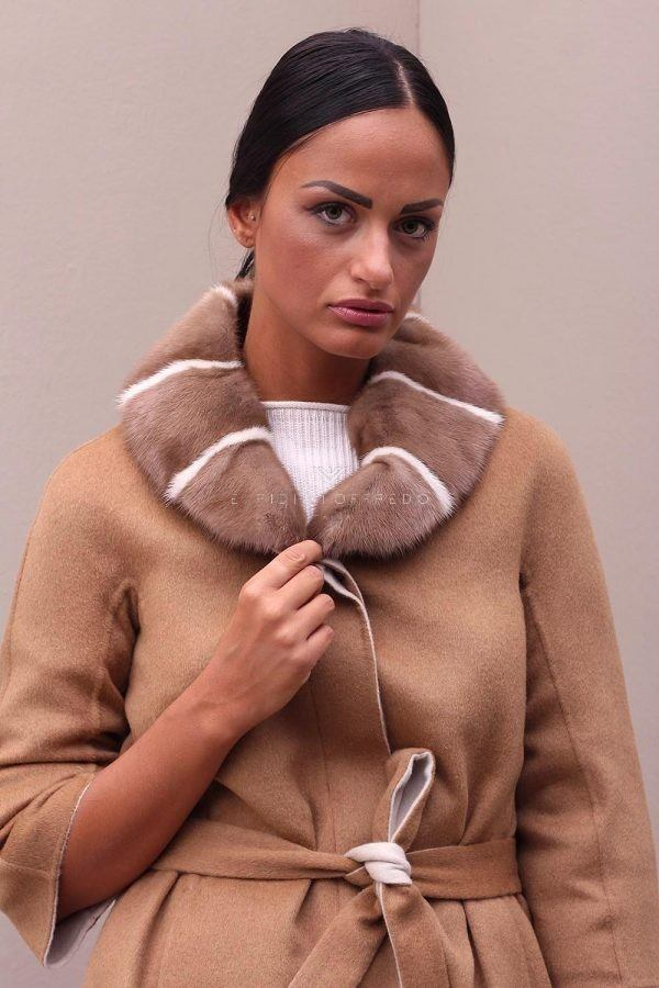 Cashmere and Wool Coat with Mink Fur - Length 75 cm