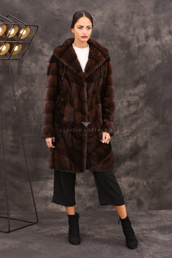 Mink Parka with Hoodie - Length 100 cm