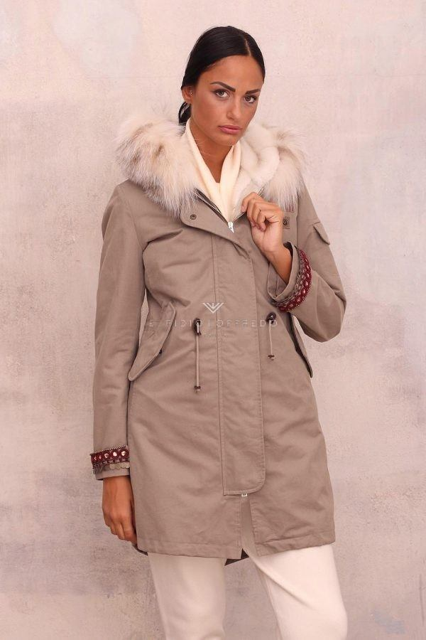 Parka with Mink and Lynx - Length 85 cm