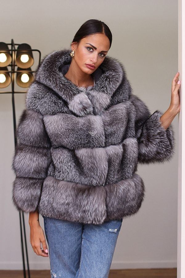 Blue Frost Fox Furwith Hood - Length 65 cm