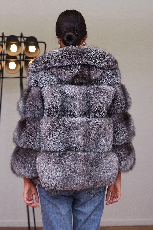 Giacca di Volpe Blue Frost con cappuccio - Lunghezza 65 cm