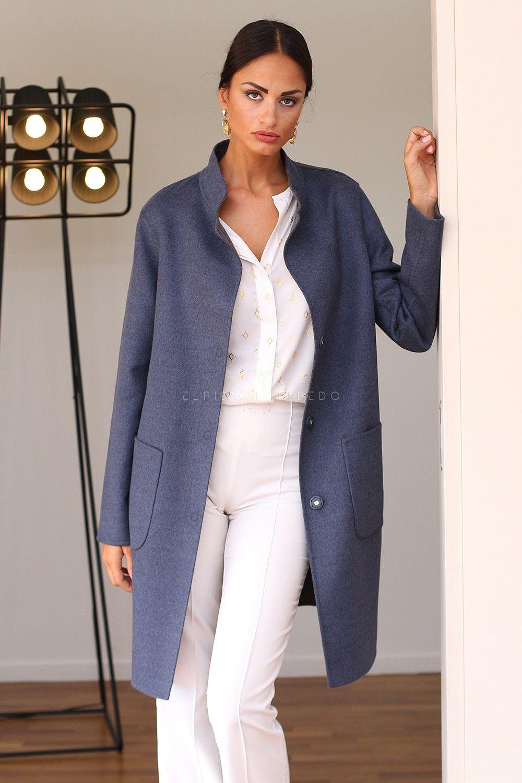 Пальто из Кашемира Loro Piana с Синей Шиншиллой - Длина 90 см