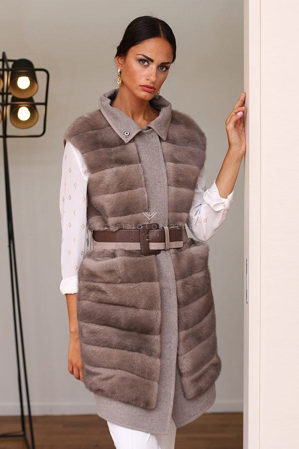 Cashmere Vest with Mink Fur - Length 85 cm