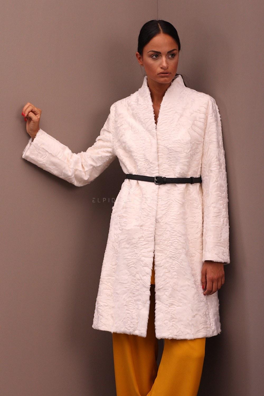 Cappotto di Swakara White - Lunghezza 95 cm