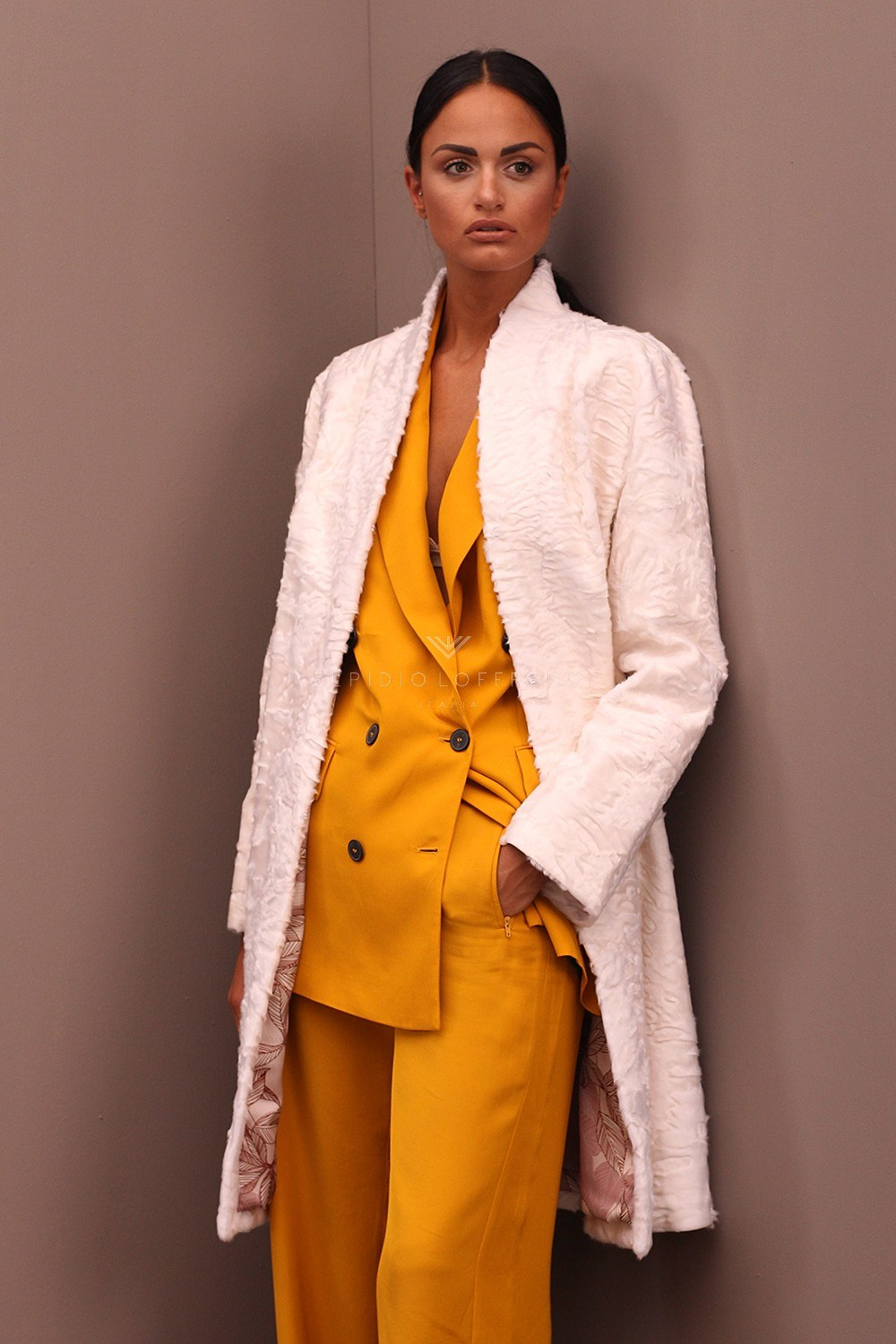 White Swakara Coat - Length 95 cm