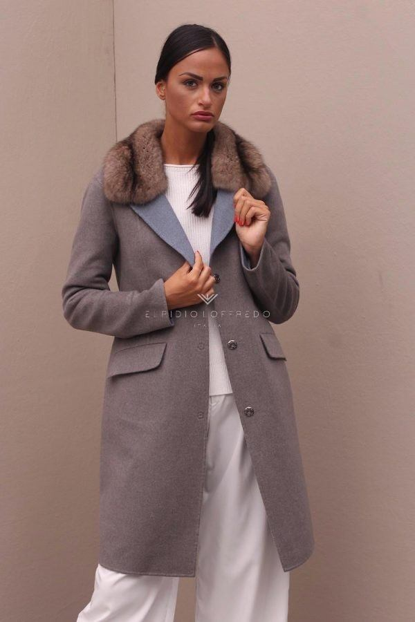 Cashmere Loro Piana Coat with Barguzinsky Russian Sable Fur Collar