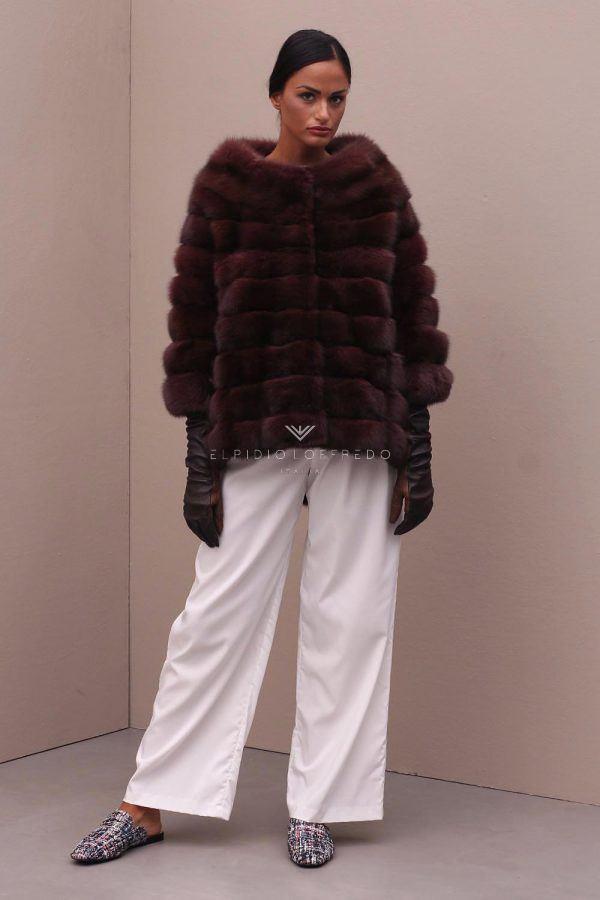 Жакет из Русского Баргузинского Соболя - Красный Цвет - Длина 65 см