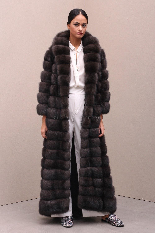 Cappotto di Zibellino Russo Barguzinsky - Marrone - Lunghezza 135 cm