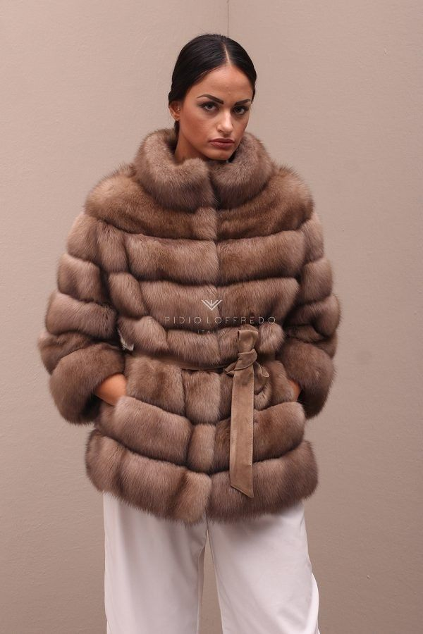 Barguzinsky Russian Sable Fur Jacket - Titanio Color - Length 65 cm