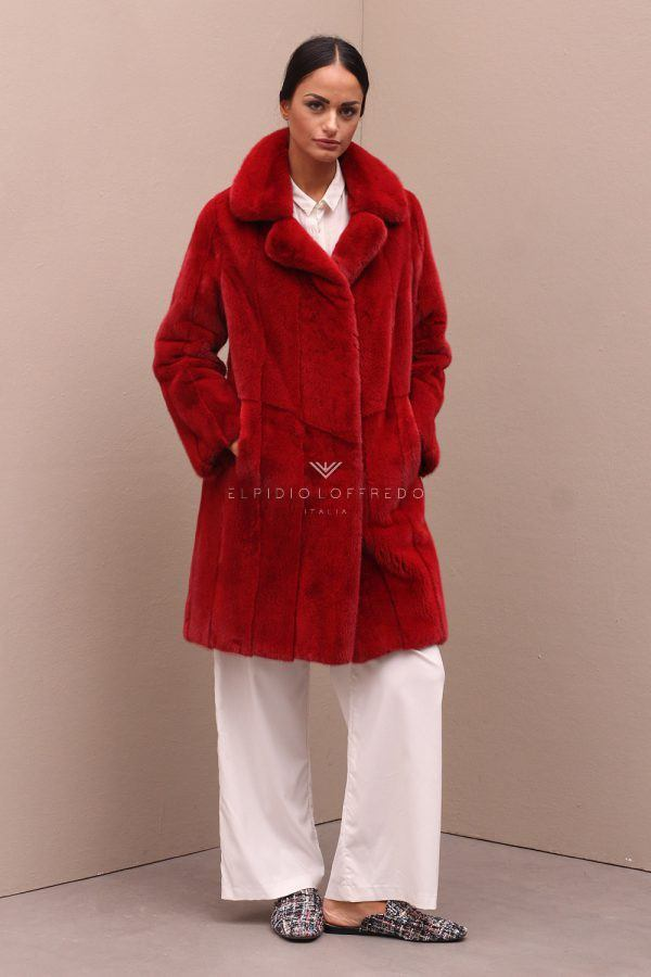 Cappotto di Visone Rosso con Collo Rever - Length 100 cm