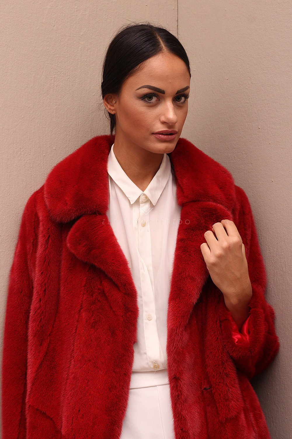 Red Mink Coat with Rever Collar - Length 100 cm