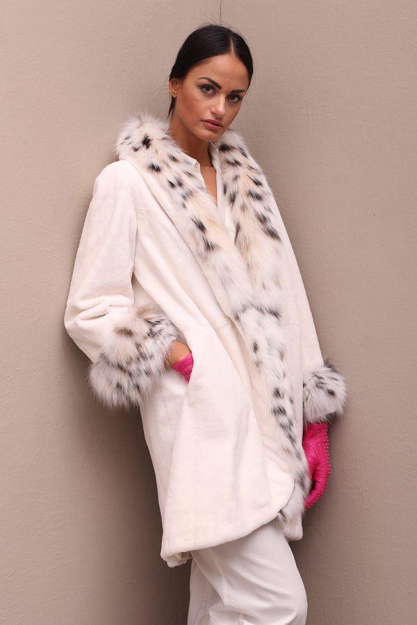 Cappotto di Visone Epilato con Lince - Lunghezza 80 cm