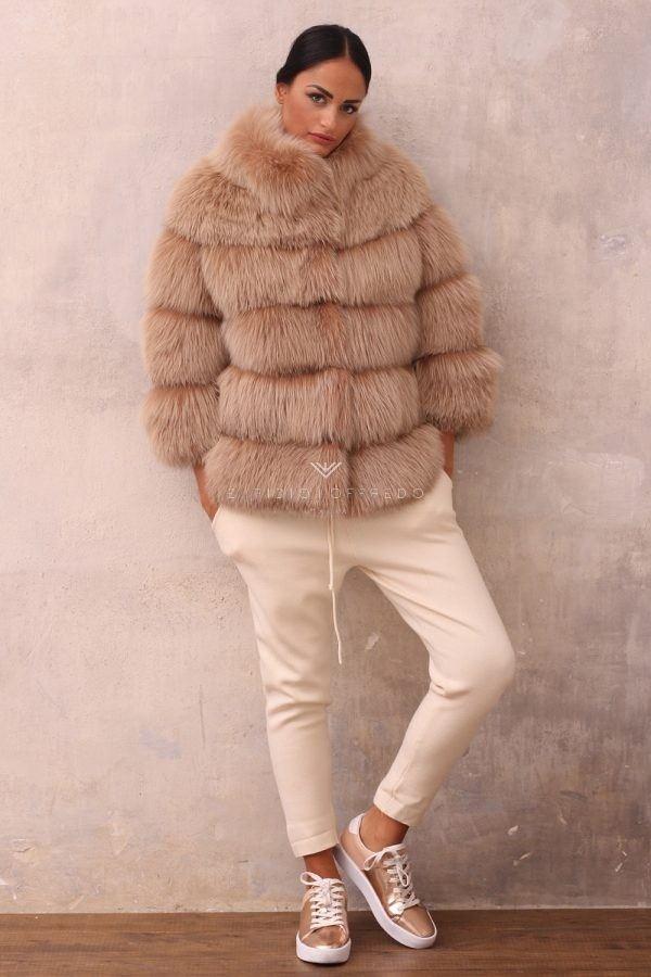 Beige Fox Jacket with Round Collar - Length 70 cm