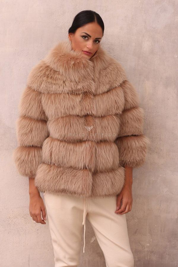 Beige Fox Jacket with Round Collar - Length 70 cm