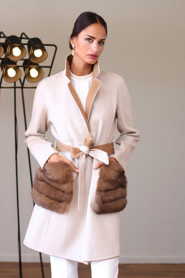 Cappotto di Cashmere e Lana con Pelliccia di Zibellino - Lunghezza 90 cm