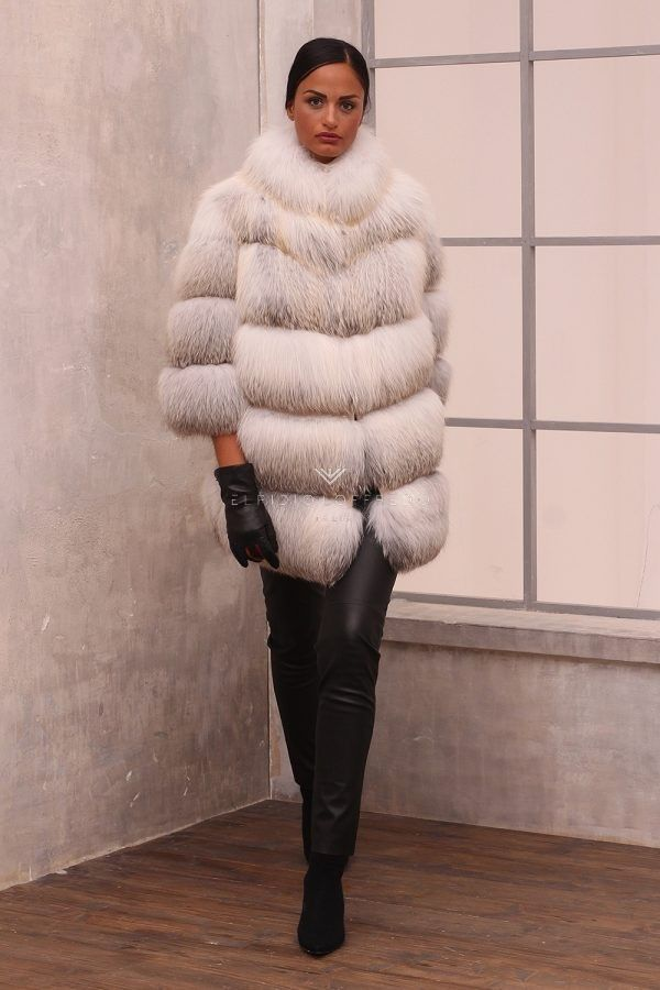 Fawn Light Fox Coat - Length 80 cm