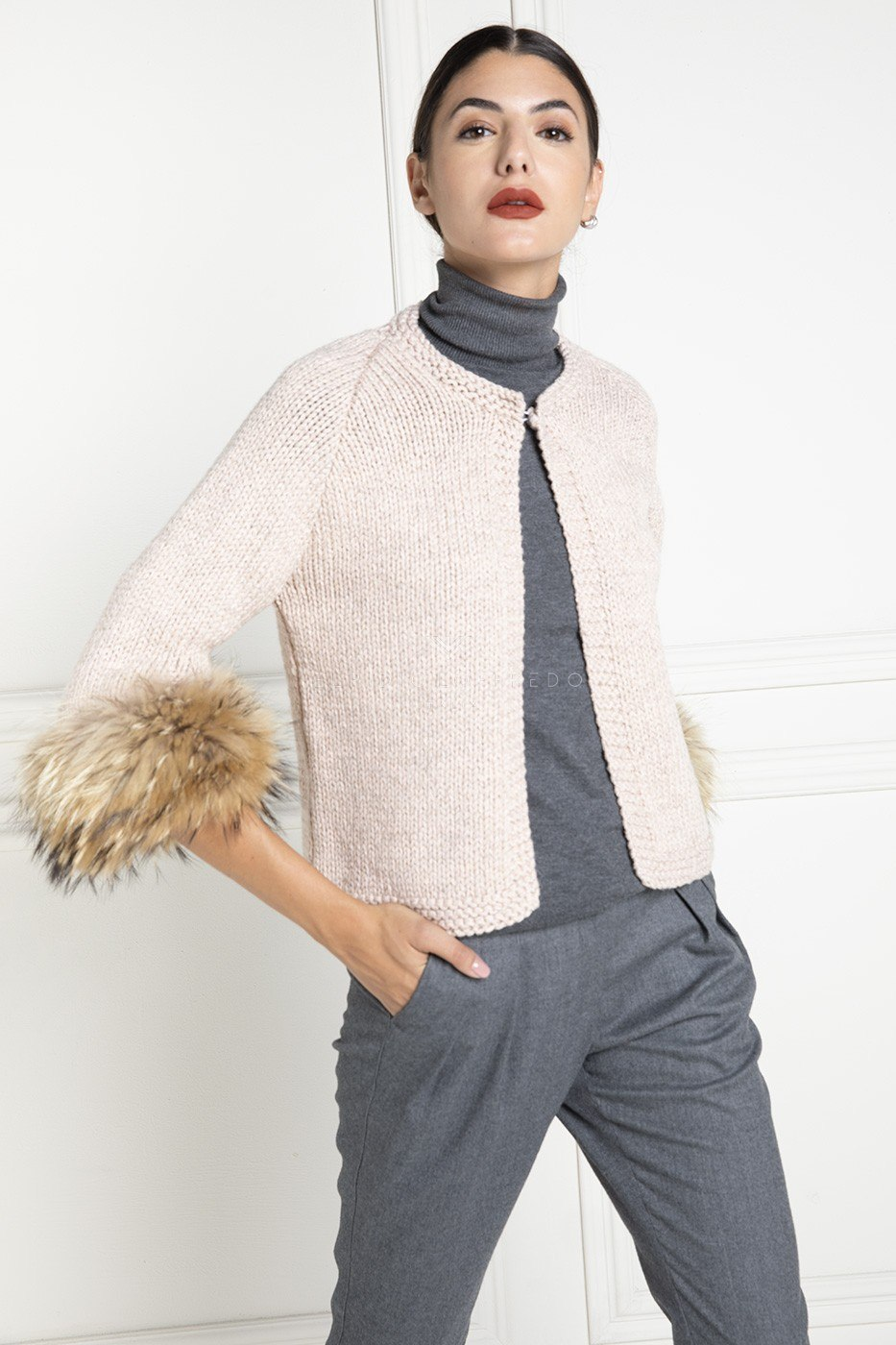 Wool Jacket with Fur - Length 55 cm