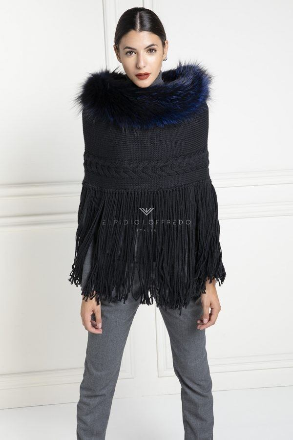 Wool Cape with Fox Fur - Length 70 cm
