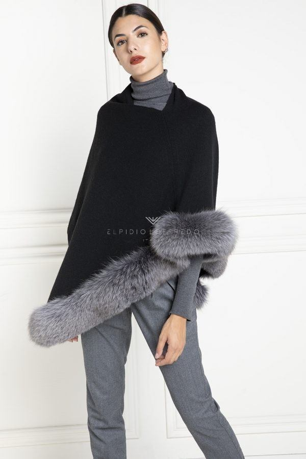 Cashmere Loro Piana Cape with Beige Fox Fur