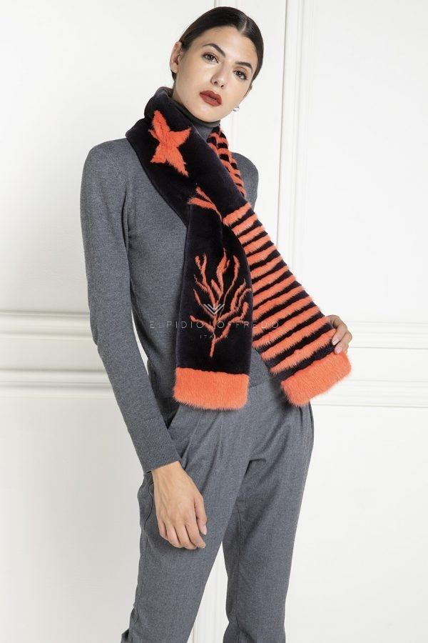 Black and Orange Mink Scarf