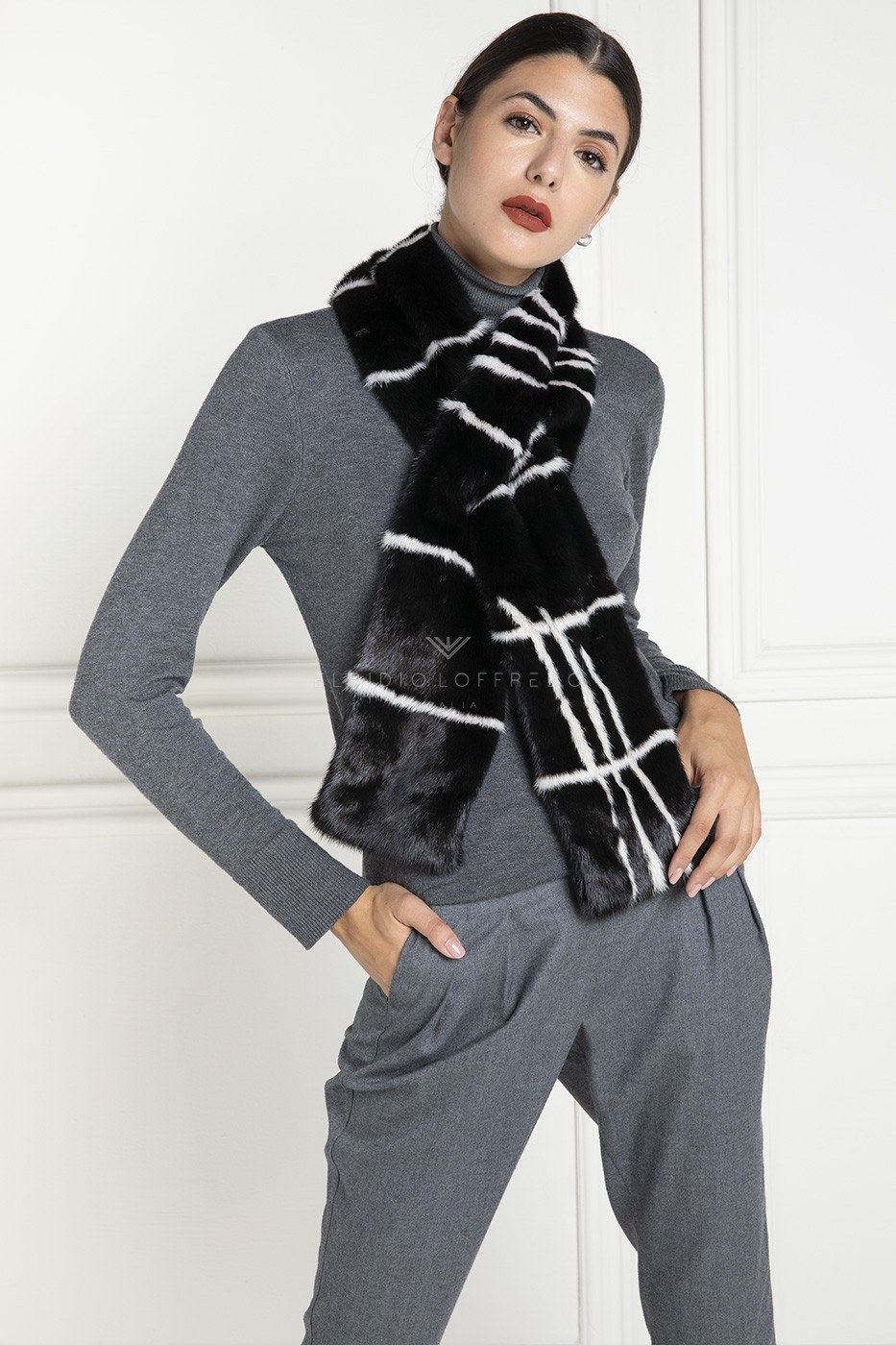Black and White Mink Scarf